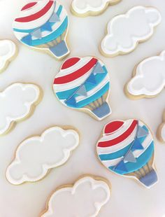 Cutest cookies ever! Need to convince lili to ditch the adopt a kitty party for a hot air balloon party!!! READY TO SHIP Hot Air Balloons, Clouds and Confetti Cookies (1/2 pound) on Etsy, $9.00