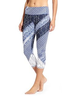 High Rise Indigo Geo Chaturanga™ Capri - Our go-to yoga tight in our favorite indigo print of the season with a high-rise fit for a triple dose of performance: keeps everything tucked in, offers a secure, stay-put fit, and creates the longest, leggiest look.