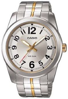 Casio Mens MTP1315SG7BV Silver StainlessSteel Quartz Watch with Silver Dial ** To view further for this item, visit the image link.