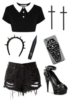 """""""Untitled #243"""" by pastle-bands-movies-emo ❤ liked on Polyvore featuring Killstar, Pleaser and Givenchy"""