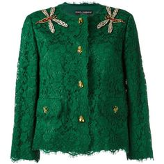 Dolce & Gabbana embellished lace jacket ($6,145) ❤ liked on Polyvore featuring outerwear, jackets, green, print jacket, embellished jacket, colorful jackets, multi colored jacket and long sleeve jacket