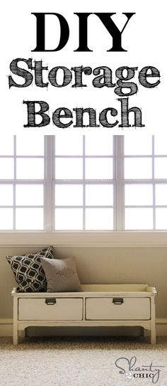 Free and Easy DIY Furniture Project Plan: Learn How to Build a Storage Bench // Shanty-2-Chic.com