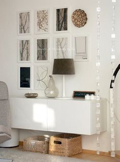 gallery wall ~ floating console adds that touch of magical esthetic as it showcases accessories & art....