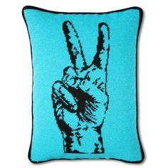 Peace hand needlepoint pillow, Jonathan Adler