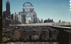 Chicago, 1943 - PBR sign against Great Depression skyline