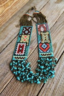 Blanket Necklace | Designer unknown.  Turquoise, seed beads and fiber