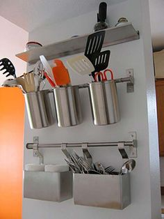 Hang wall storage cans:Top 27 Clever and Cute DIY Cutlery Storage Solutions