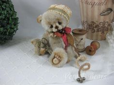 "5.5"" Miniature Artist Bear Mael Handmade by Vera J.Bears"