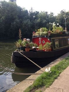 Canal boat with a mountain of potted plants Barge Boat, Canal Barge, Canal Boat, Narrowboat Interiors, Living On A Boat, Sailboat Living, Tiny Living, Houseboat Living, Houseboat Ideas