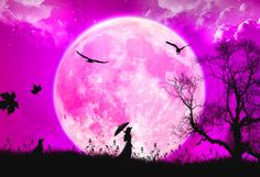 Woman Silhouette Canvas | Fantasy Silhouette Moon & Girl With Umbrella Canvas Print Wall