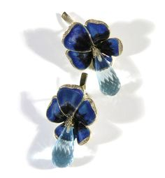 Jewelry shop holdings.  Violets Earrings 750 gold, topaz, enamel.