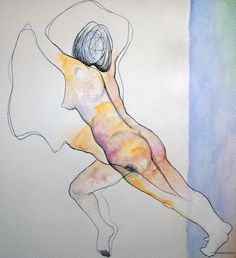 """""""Falling"""", watercolors and ink on paper."""