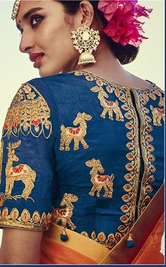 Orange And Blue Silk Buy Designer Lehengas Online