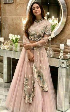 Mira Rajput Kapoor wears a pastel lehenga and choker at a friend's Delhi wedding. - Mira Rajput Kapoor wears a pastel lehenga and choker at a friend's Delhi wedding Party Wear Indian Dresses, Designer Party Wear Dresses, Party Wear Lehenga, Indian Gowns Dresses, Indian Bridal Outfits, Dress Indian Style, Wedding Dresses For Girls, Indian Fashion Dresses, Indian Designer Outfits