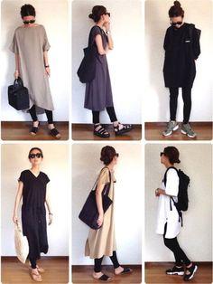 ワンピース✖️レギンスコーデ😚 今月もよろしくお願いします❤️ B Fashion, Japan Fashion, Fashion Books, Korean Fashion, Fashion Beauty, Fashion Outfits, Womens Fashion, Fashion Tips, Fashion Ideas