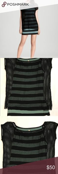 """Bailey 44 Clubwear Black Crochet Mesh Dress Tunic Size medium, Bailey 44 clubwear mini dress/Tunic! Spandex rayon jersey knit under layer in a pretty deep mint sage green/black bold stripe, with a crocheted open black top layer. Wear as a mini dress or as a longer Tunic Top! Body underneath is approx 18"""" across bust unstretched, total length is 27"""" from shoulder to bottom hem. Bailey 44 Dresses Mini"""