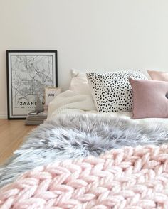 white with pink and blue accents