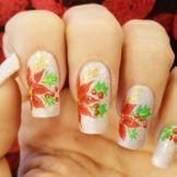 Decoación de uñas flores navideñas3-3