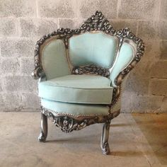 Antique Blue Chair Italian Venetian Available* Bergere Corbeille Silver Gray Frame New Fabric Padding Baby Blue Sky Rococo Baroque Blue Settee Chair Antique Italian Venetian by SittinPrettyByMyleen Victorian Furniture, Rustic Furniture, Antique Furniture, Cool Furniture, Living Room Furniture, Modern Furniture, Furniture Design, Furniture Layout, Outdoor Furniture
