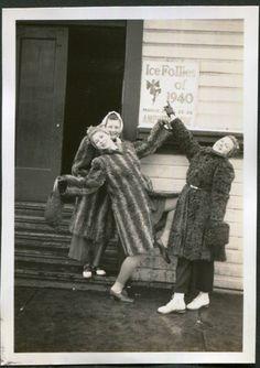 Vintage Kodatone Photo of Ice Follies Girls in Fur Coats, 1940's Original Found Photo, Vernacular Photography by iloveyoumorephotos on Etsy