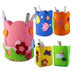 Other Kids Crafts Handmade Cartoon Pen Container Diy Pencil Holder Kids Craft Toy Kits Colorful & Garden Kids Crafts, Kids Educational Crafts, Craft Kits For Kids, Felt Crafts, Diy For Kids, Fabric Crafts, Handmade Felt, Handmade Crafts, Diy Niños Manualidades