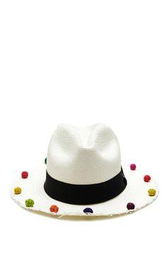 08c53b4f71c Pom-Pom-Trimmed Classic Panama Hat by Sensi Studio Now Available on Moda  Operandi