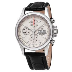 Revue Thommen 17081.6532 'Pilot' Cream Dial Brown Strap Chronograph Swiss Automatic Watch