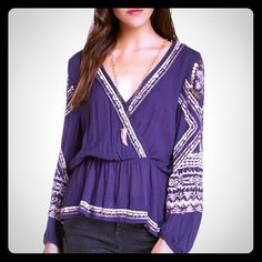 "Free People ""Stitch Up Your Heart"" Peasant Blouse (MEDIUM Not Large)  Ahhh gorgeous purple passion FP peasant boho blouse with beautiful embroidered detailing along neckline, sleeves & hem, snap-button closure, elastic waistband, pullover style easy fit, hits at hip, rayon, machine washable. Stunning! Free People Tops Blouses"