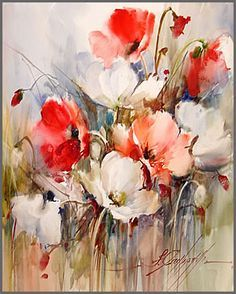 Poppies 20 / Papoulas painting by artist Fabio Cembranelli Watercolor And Ink, Watercolor Flowers, Watercolor Paintings, Flower Paintings, Watercolours, Original Paintings, Art Courses, Art Abstrait, Abstract Flowers