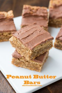 peanut butter bars with creamy chocolate frosting! ohsweetbasil.com