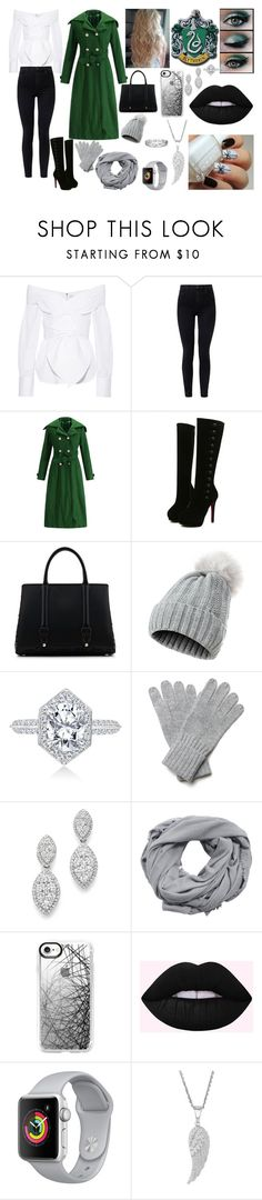 """""""Harry Potter-Winter-Slytherin"""" by mystery-girl-loves-rock ❤ liked on Polyvore featuring Johanna Ortiz, J Brand, WithChic, La Perla, Bloomingdale's, MANGO, Casetify and Effy Jewelry"""