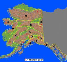 1. Brooks Range • 2. Seward Peninsula mountains • 3. Nulato Hills • 4. Yukon-Tanana Uplands • 5. Ogilvie Mountians • 6. Kuskokwim Mountains • 7. Alaska Range • 8. Talkeetna Mountains • 9. Wrangell Mountains • 10. Aleutian Range • 11. Kenai Mountains • 12. Chugach Mountains • 13. St. Elias Mountains • 14. Coast Mountains