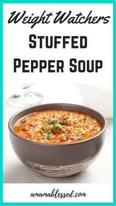 Weight Watchers Slow Cooker Stuffed Pepper Soup Are you looking for Weight Watchers recipes with Smartpoints or points values? Looking for a delicious Weight Watchers dinner recipe? This Weight Watchers slow cooker stuffed pepper soup recipe is delicious, Weight Watcher Dinners, Weight Watchers Lunches, Weight Watchers Soup, Weight Watchers Meal Plans, Weight Loss Soup, Ww Recipes, Easy Dinner Recipes, Slow Cooker Recipes, Healthy Recipes