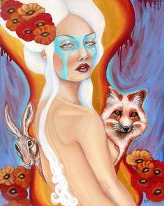 The Bridge fox rabbit mask woman 8x10 fine art  by MoonSpiralart, $16.00