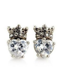 Authentic Juicy Couture CZ Pave Heart Silver Crown Studs Earrings