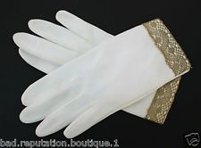 VINTAGE 1950's Lady's Off White Leather-Like Dress Gloves w/ Gold Lace - S M