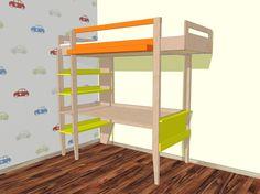 """Loft bed """"Wolf"""" with shelves and desk.   Meubelwerktekening hoogslaper 'Wolf' met planken en bureau."""