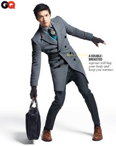 Harry Shum Jr.—heavier weights from socks to topcoat to brace for winter. Coat and pants by Burberry London. Sweater by J.Crew. Shirt by Reiss. Tie by Pierrepont Hicks. Shoes by Brunello Cucinelli. Socks by Brooks Brothers. Gloves and bag by Jack Spade.
