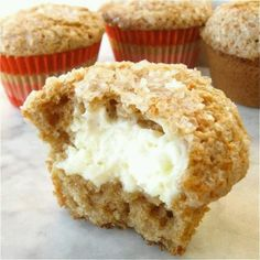 Carrot cake with cream cheese filling muffins