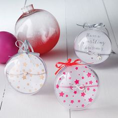 Selection of Baubles with Stars Rose Gold and Fluro Pink