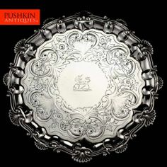 ANTIQUE 19thC GEORGIAN SOLID SILVER SALVER TRAY, BARAK MEWBURN, LONDON c.1827