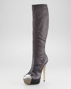 Cap-Toe Leather Knee Boot by Casadei- beautifully stylish but classic tall boot is a must have for Fall!