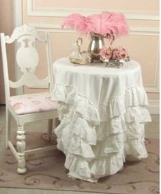 ruffle tablecloth, shabby chic style tablecloth, vintage rose collection, Jo-Anne Coletti, Romantic Homes