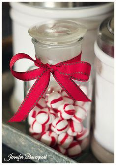 cheap christmas decorating ideas, christmas decorations, seasonal holiday decor, I purchased this little glass jar at the craft store Added little peppermints and a bow All Things Christmas, Cheap Christmas, Christmas Holidays, Merry Christmas, Christmas Gifts, Xmas, Happy Holidays, Christmas Ideas, Christmas Table Decorations