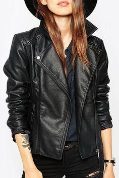 Turn-Down Collar PU Leather Zipper Fly Jacket BLACK: Jackets & Coats | ZAFUL