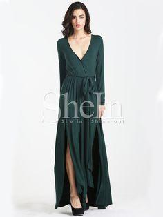 Dark Green Long Sleeve Split Maxi Dress 20.33