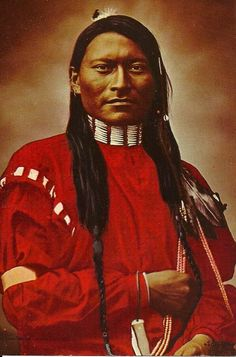 Red-Armed Panther or Red Sleeve, Cheyenne scout (1879) postcard, photo by L.A. Huffman, hand-colored, The Huffman Pictures, c1968 by Jack Coffrin, Miles City, Mont.: Red Arm Panthers, Red Indian Chiefs, Indian Postcards, American Indian, Cheyenn Scouts, American Native, Red Sleeve, Miles Cities, Native American