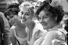 Behind the scenes - Keira Knightley (Elizabeth Bennet), Rosamund Pike (Jane Bennet) & Brenda Blethyn (Mrs. Bennet) - Pride & Prejudice (2005) #janeausten #joewright #fanart
