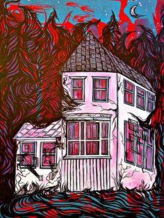B-Movie Bloodbath. Acrylic ink on board. 2011
