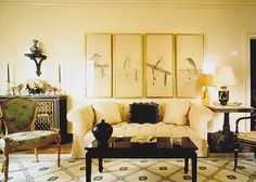 A glimpse of the living room in the apartment of designer Pamela Banker at 30 Sutton Place.  Note:  this is a rug on the floor but painted cloth.
